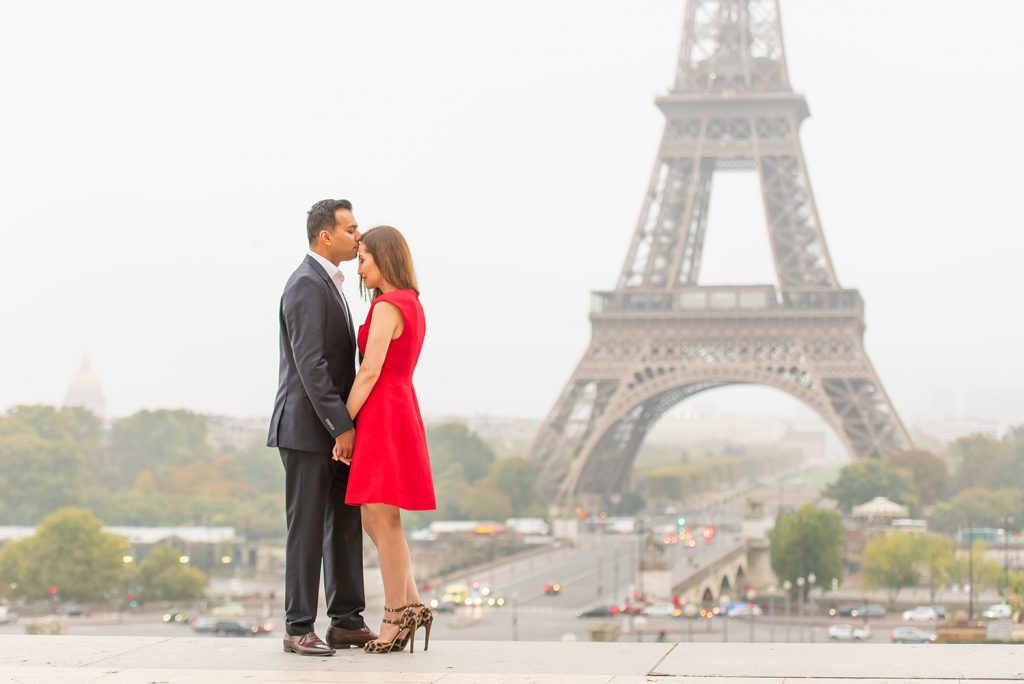 proposal at Eiffel Tower with red dress