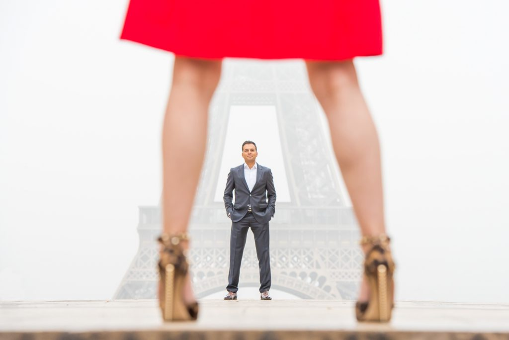 red dress in Paris at Eiffel Tower