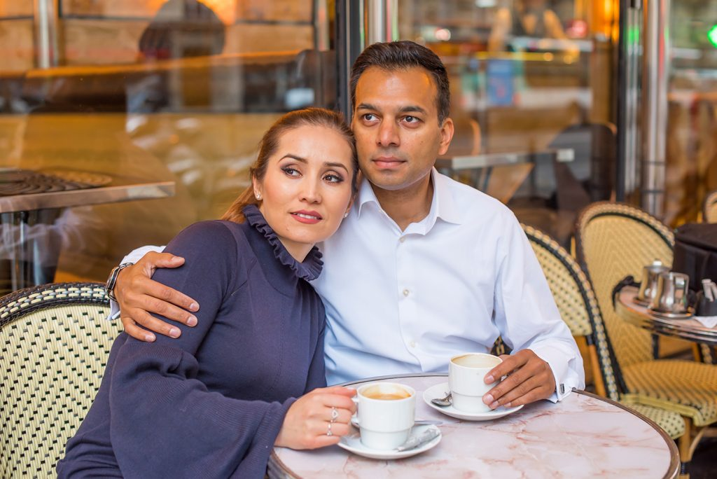 couple in love shot cafe Paris