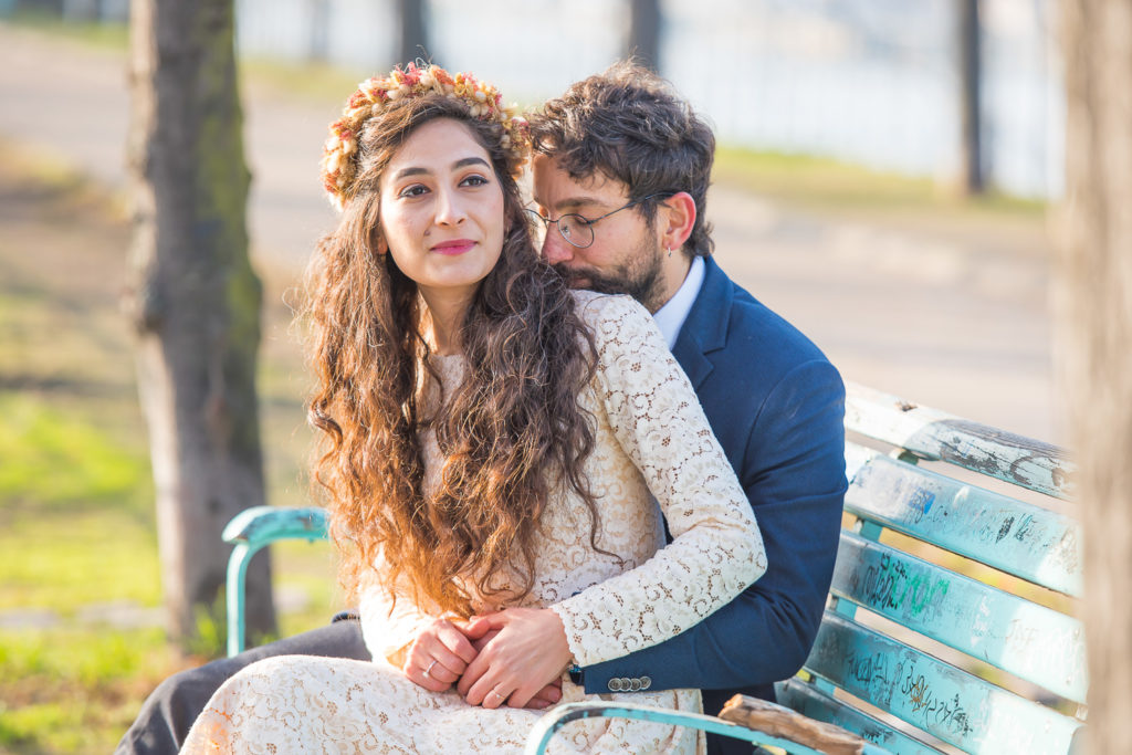 girl wearing flower crown in Paris during photo session