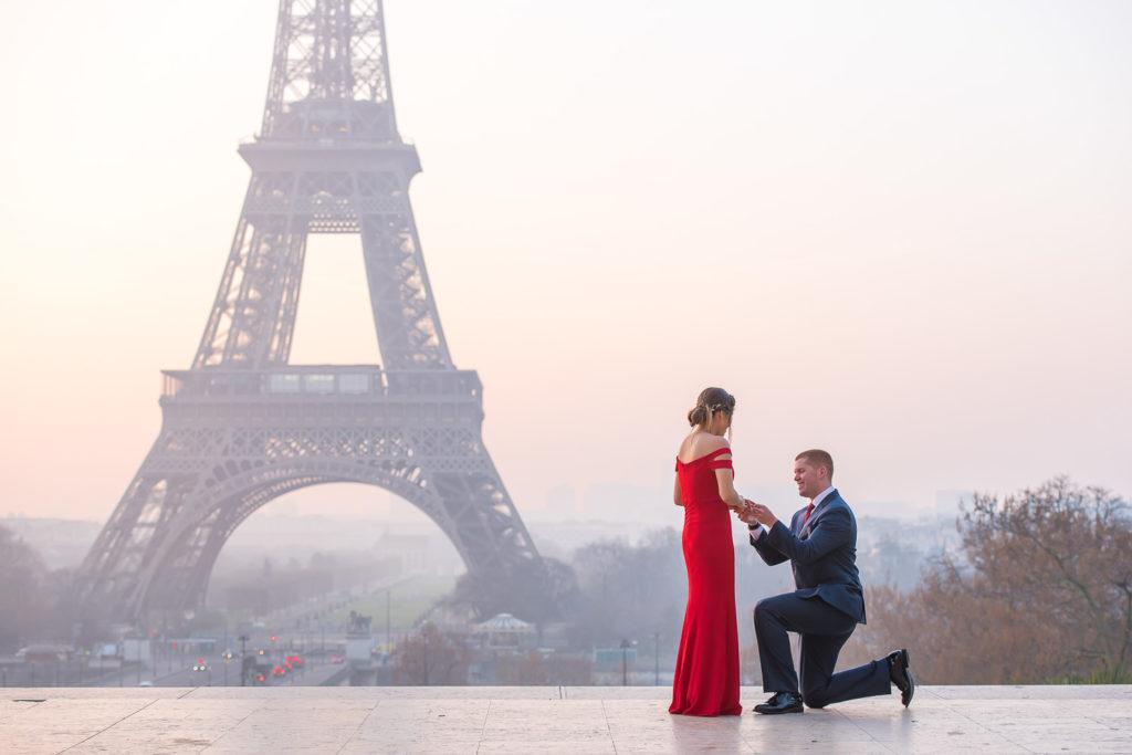 Proposal sunrise at Eiffel Tower