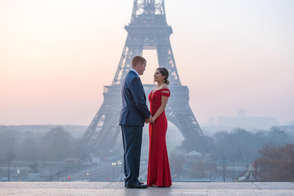 sunrise at Eiffel Tower proposal