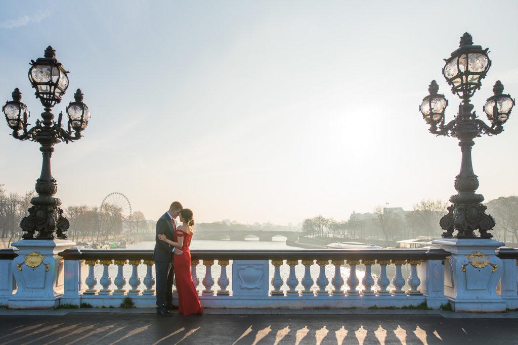 Couple photos in Paris after sunrise proposal