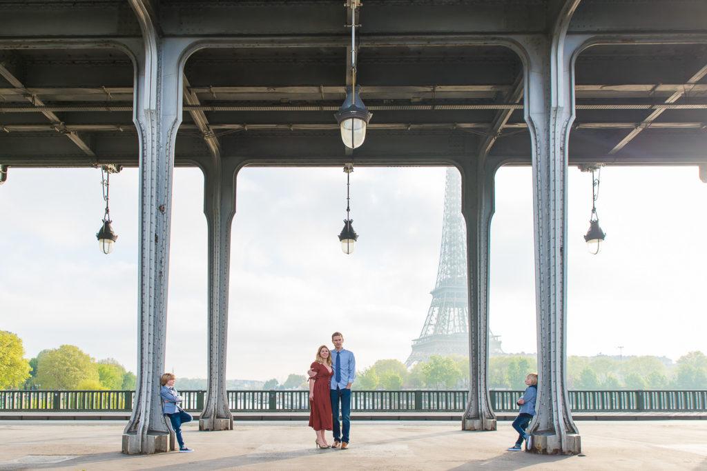 Family photoshoot on bridge near trocadero