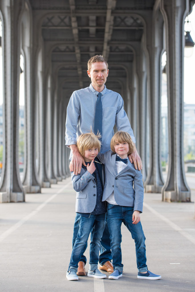 Dad and sons near trocadero