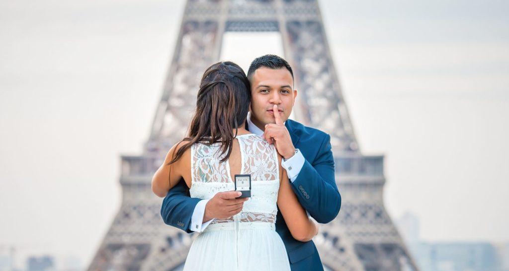 Eiffel Tower surprise proposal