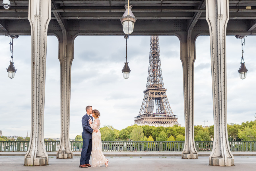 Wedding photoshoot under bridge at Eiffel Tower in paris