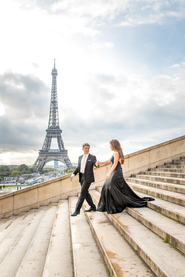 Eiffel Tower stairs at Trocadero photoshoot
