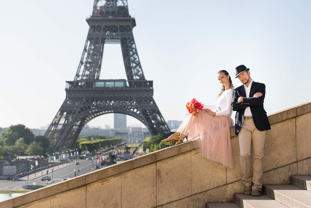Couple dancer photos at trocadero stairs