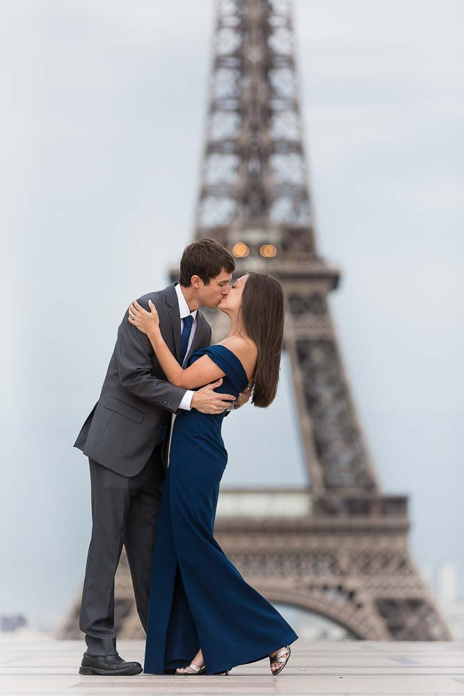 Anniversary kiss picture at Eiffel Tower