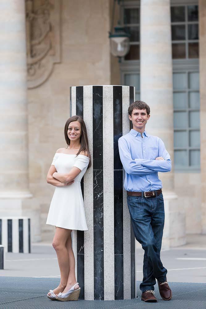 Anniversary photo at Palais Royal in Paris