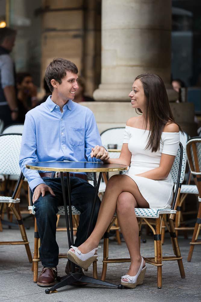 Anniversary photos at French café