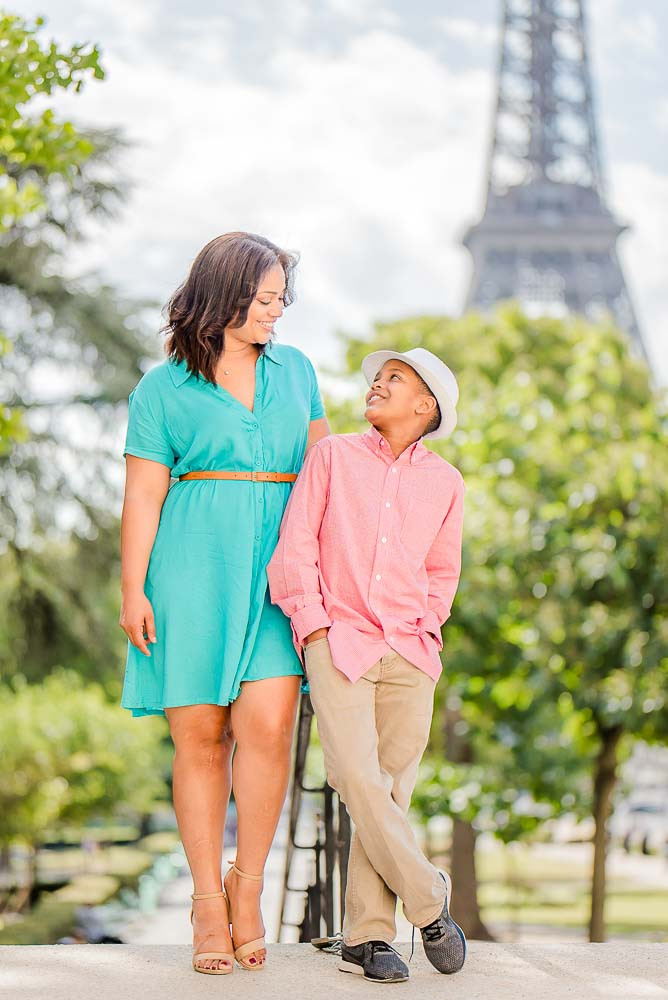 Mother and son family photo in paris