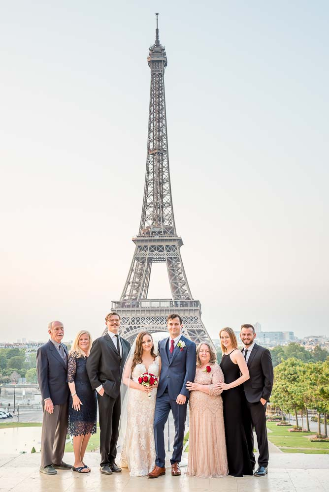Wedding family photo at Eiffel Tower