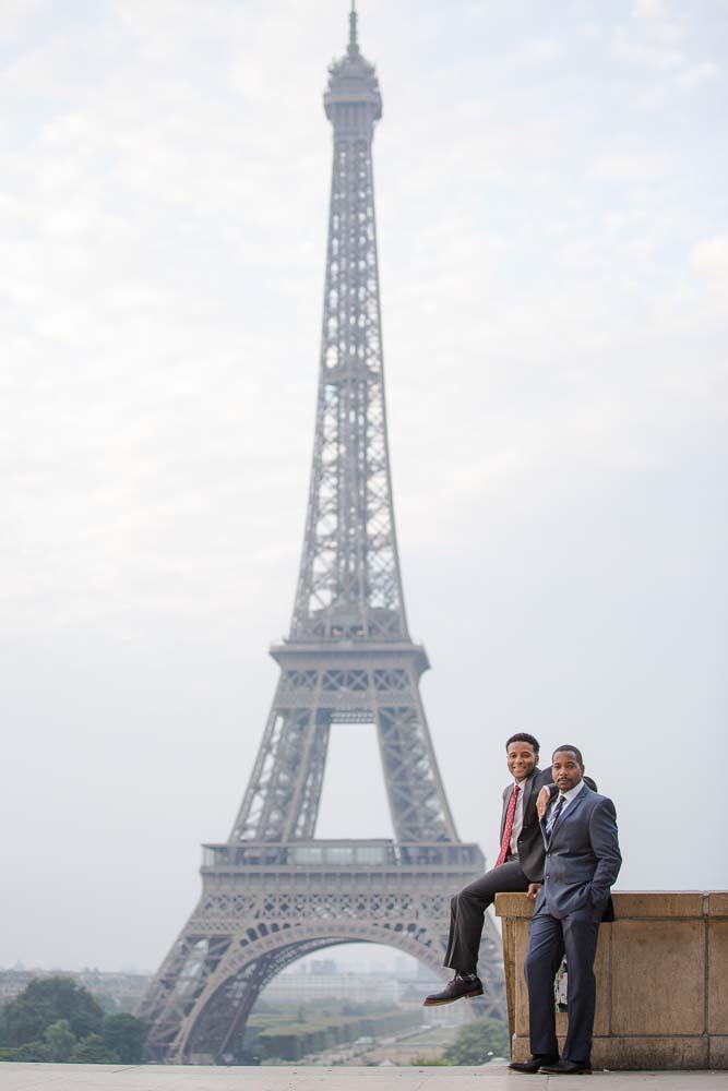 Eiffel Tower gay couple photoshoot