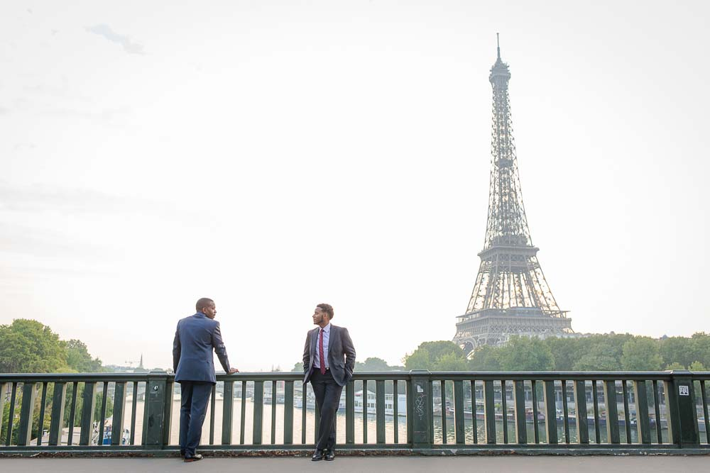 Eiffel Tower same sex couple photoshoot