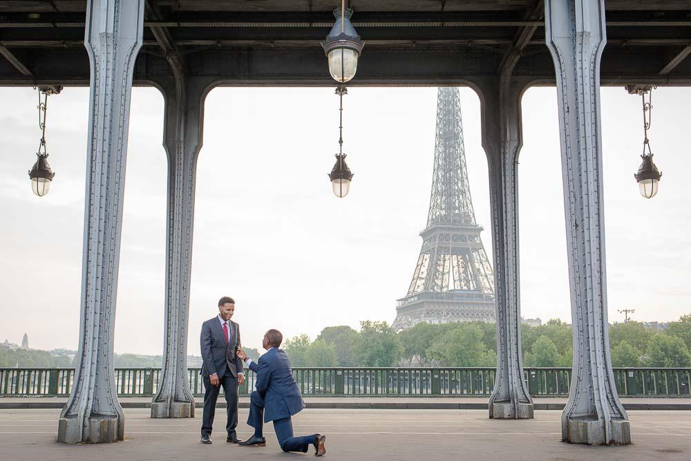 Eiffel Tower same sex surprise proposal