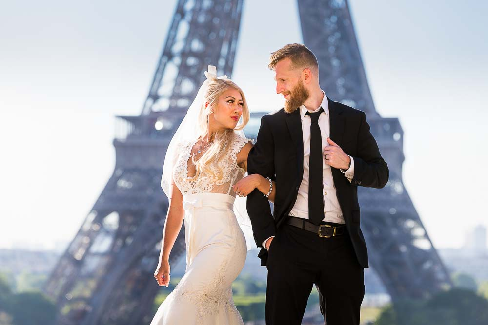Bridal couple at Eiffel Tower