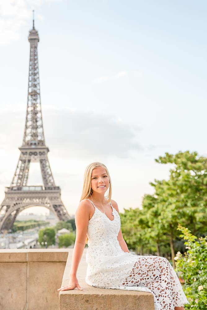 Sweet daughter photo at the Eiffel Tower