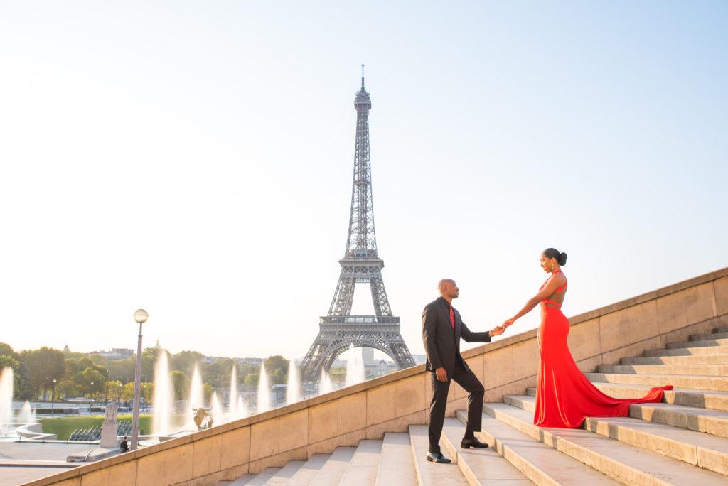 Eiffel Tower stairs photoshoot