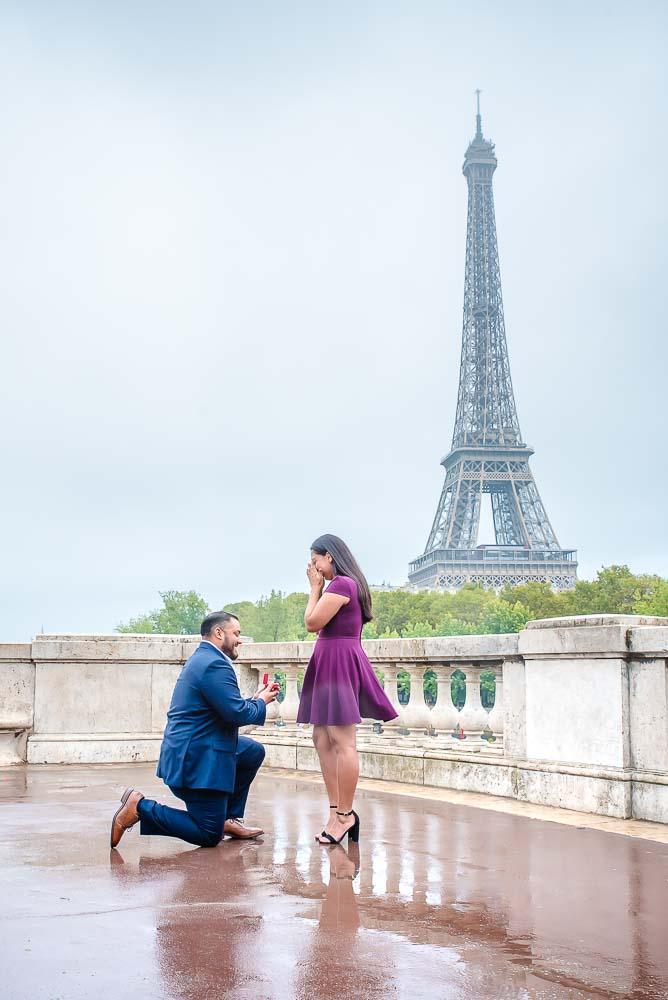 Surprise Proposal on Eiffel Tower on Paris bridge