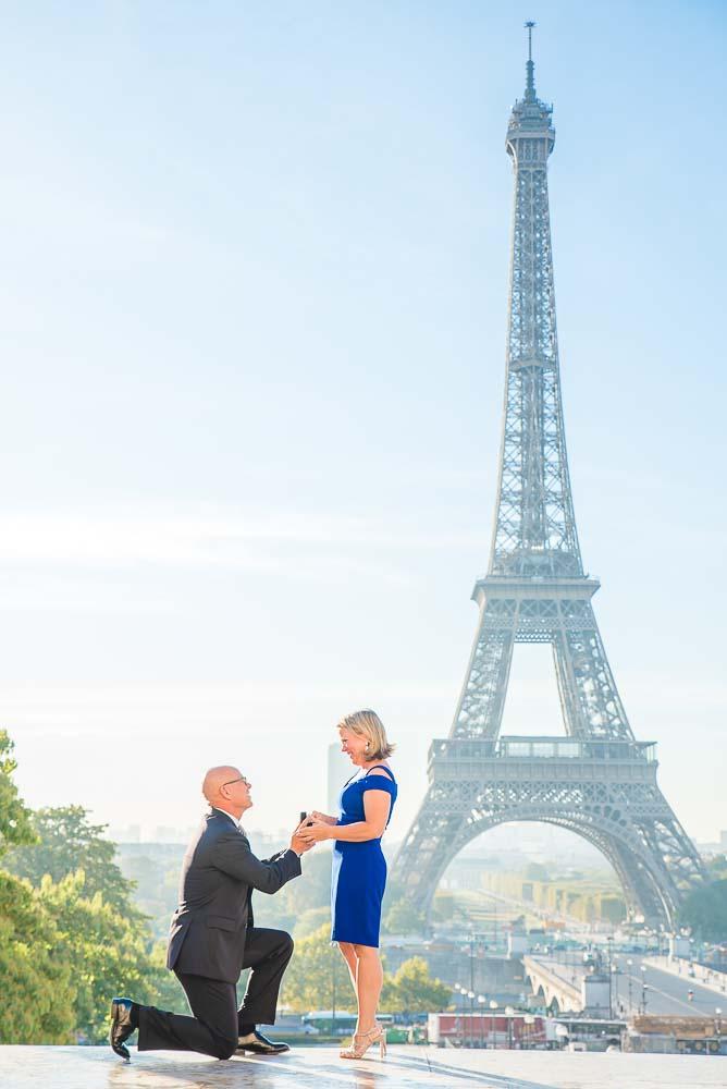 Surprise Proposal at Eiffel Tower in Paris