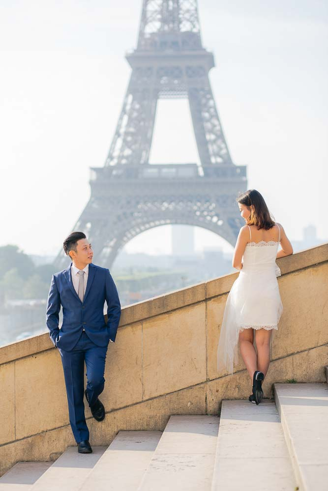 Surprise proposal photoshoot at Eiffel Tower