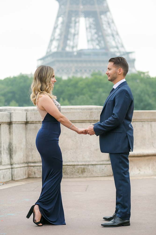 Engagement photography at Eiffel Tower bridge