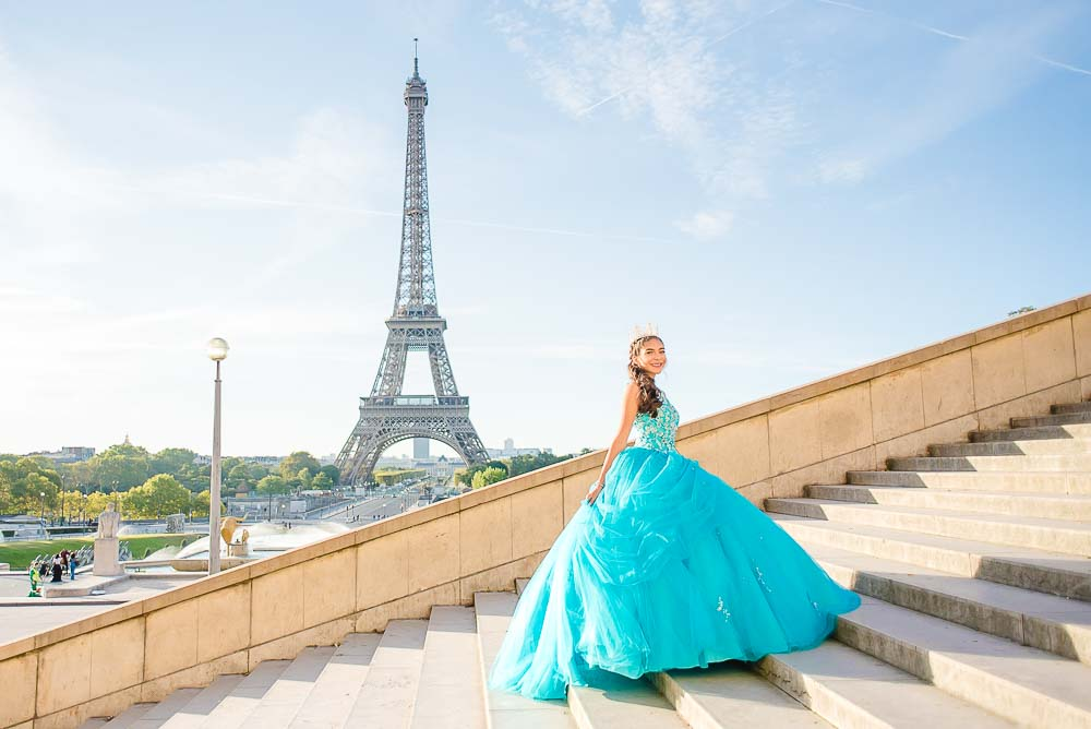 Quinceanera on Eiffel Tower stairs