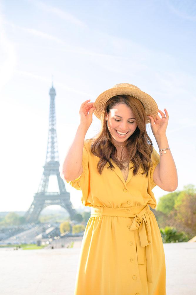 Yellow summer dress for a Paris photoshoot
