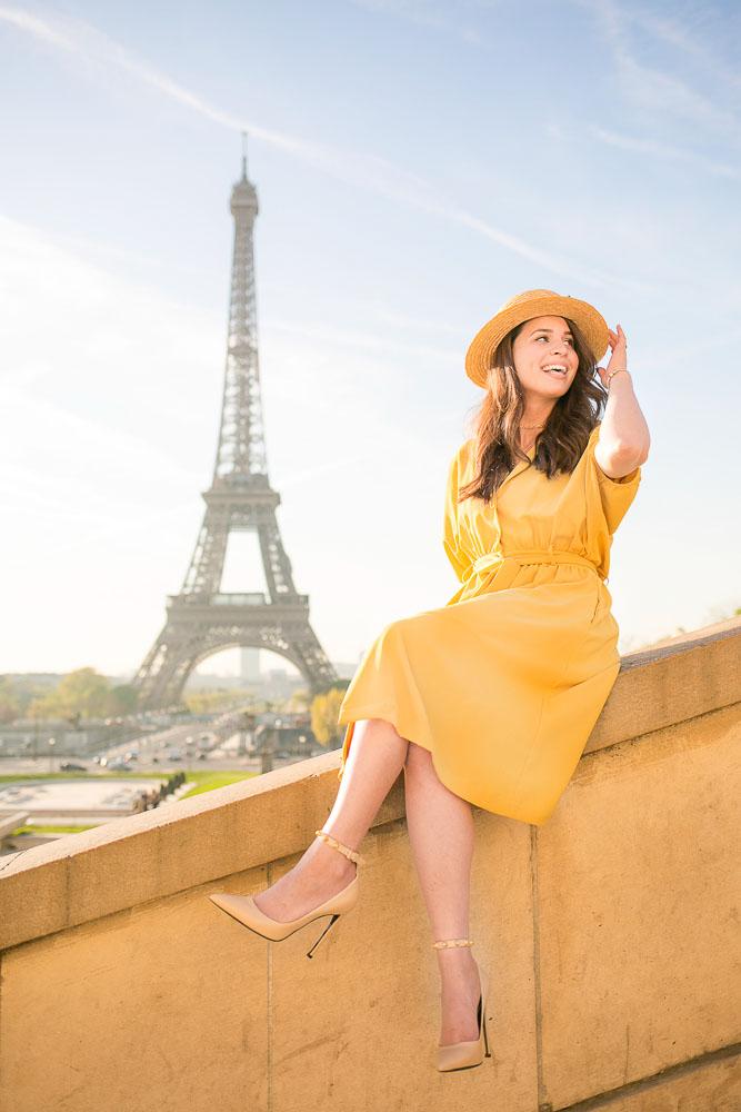 Yellow summer dress at Eiffel Tower