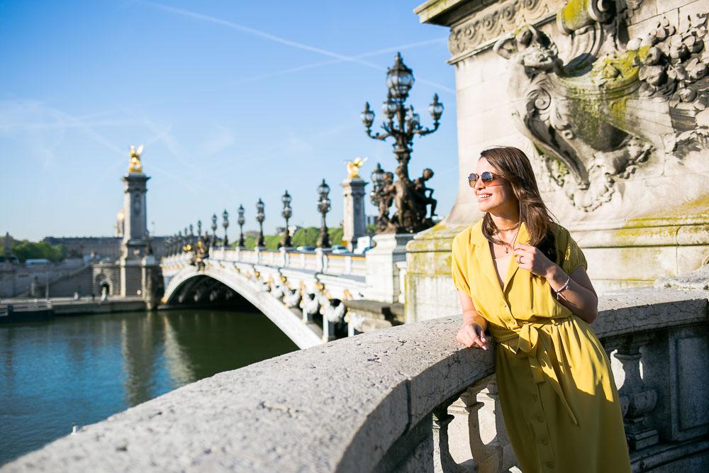 Yellow summer dress in Paris