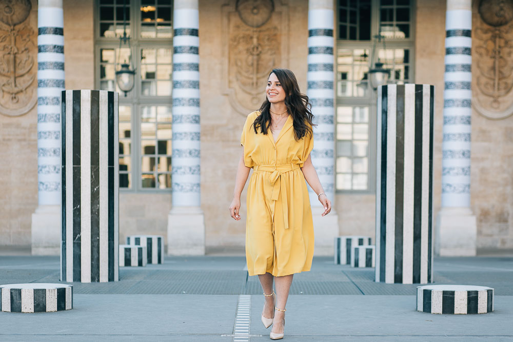 Photos in Paris with Yellow summer dress