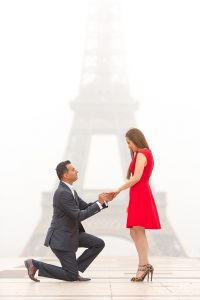 proposal in Paris with red dress