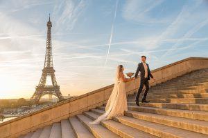 bridal photoshoot Trocadero stairs Paris