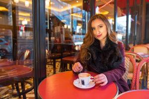 senior photo at café in paris