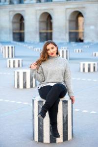 senior photos in Palais Royal buren columns / Paris