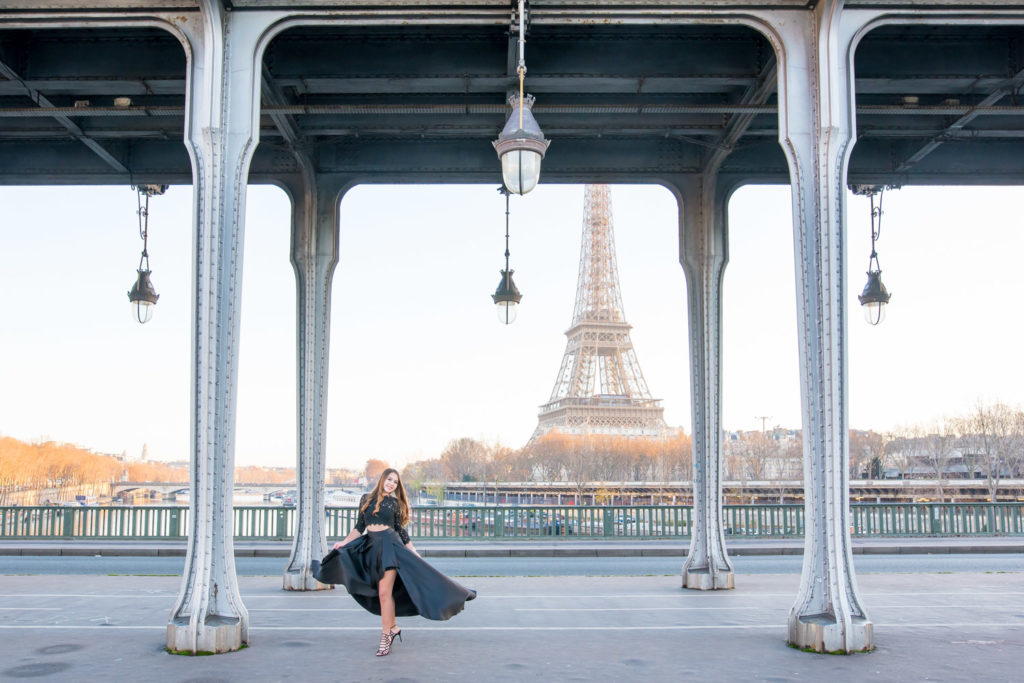 High-low black dress for her photoshoot in Paris