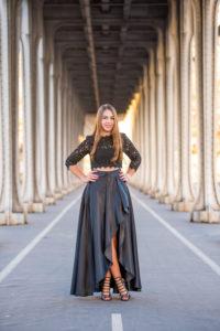 high-low black dress in Paris columns