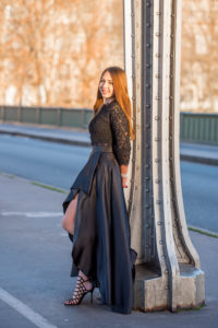 high-low black dress in winter