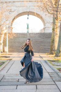 fashion high-low black dress