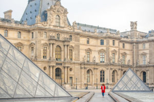 Solo morning photoshoot at Louvre pyramid