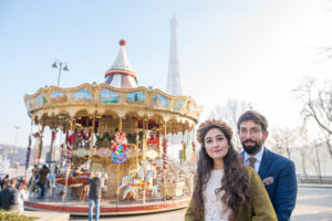 Flower crown in front of carrousel and Eiffel tower