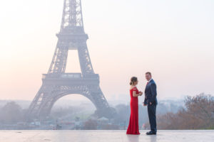 sunrise at Eiffel Tower before proposal