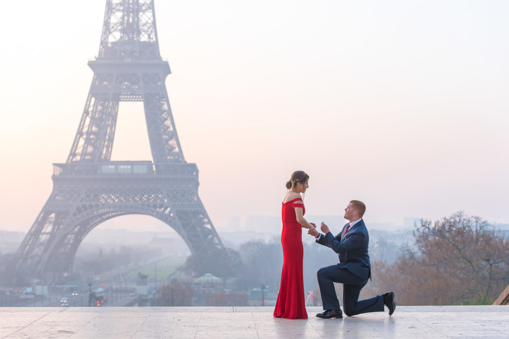 Sunrise proposal at Eiffel Tower