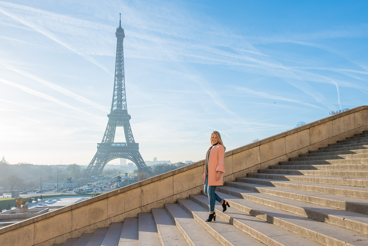 Sweet 16 photo session at Eiffel Tower stairs