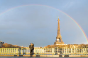 Rainbow couple shoot near Eiffel Tower in Paris