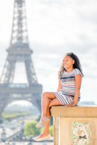 girl portrait at the Eiffel Tower