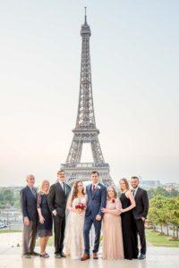 Wedding family photo at Eiffel Tower