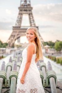 Sweet teenager picture at the Eiffel Tower